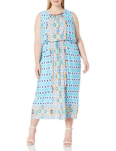 Ruby Rd. Women's Patio Placement Printed Venezia Maxi Blouson Dress with Embellished Boat-Neck, Aqua Multi, S