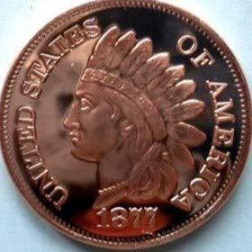 kwg77 Moneda de Cobre de 1 Onza, 1 Cent, 1877, lingote de Cobre Puro .999, Redondo de 39 mm c / Jefe Indio en Reverso suministrado bcw en Moneda de Vinilo