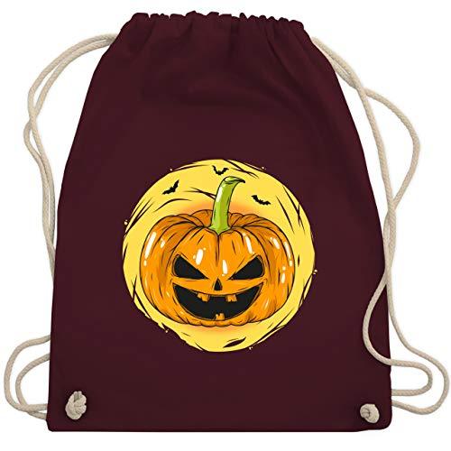Shirtracer Halloween Kind - Halloween Kürbis Gesicht - Unisize - Bordeauxrot - Statement - WM110 - Turnbeutel und Stoffbeutel aus Baumwolle