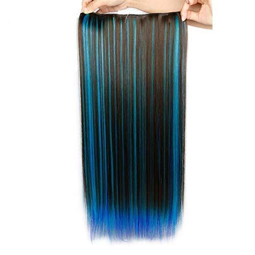 TMCBSS 22'Ombre Half Half Wigs 5 Clip En La Extensin del Pelo Fibra Sinttica Resistente Al Calor Color De La Mezcla Blue Halloween Hair Piece para Mujeres Afroamericanas