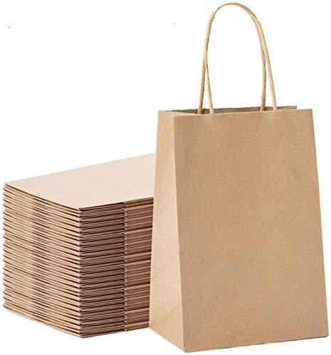 26 pcs Braune Papiertüten mit Griff,Braune Papiertüten mit Henkel,Kraftpapiertüten Braun,Papierbeutel Kraftpapier,Bodenbeutel Papier,Tütchen Papier,Geschenktüte mit Griff (Holzfarbe)