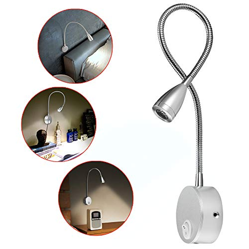 Lampe de lecture,2 lumières de lit à LED,Montée sur le mur à côté des lampes en aluminium,lampe d'éclairage blanc chaud,200 Lumen/3000K/3W,Angle de faisceau:30 °,Longueur du col de cygne:38cm