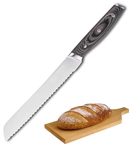 Taylor's Eye Witness Cheyenne Pakka Wood Handle Serrated Bread Knife - 20cm / 8 Inch Blade. Premium German Stainless Steel. Corrosion/Rust Resistant. Triple Rivet Construction. 25 Yr Guarantee.