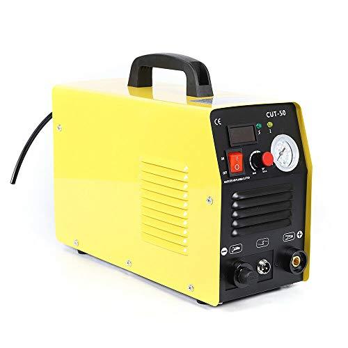Wangkangyi CUT-50 - Taglierina al plasma ad aria compressa, 220 V, con morsetto di massa Inverter con spessore di taglio fino a 12 mm, convertitore per taglio al plasma (giallo)