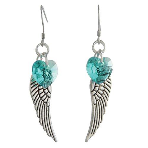 Woodstock Angel Wing Earrings, Blue Zircon- Rainbow Maker Collection