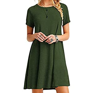 Women's Short Sleeve Loose Casual T-Shirt Tops Dress Plus Size