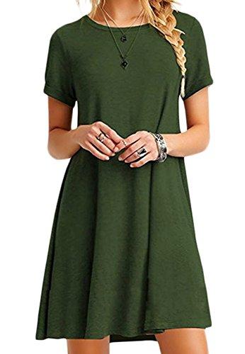 OMZIN Shirt Lange lose Kleid Ärmel Damen Casual Sommerkleid Kleid Flowy Kleid lose Armee grün L