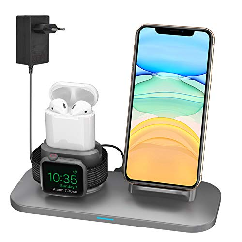 Supporto Caricabatterie Wireless 3 in 1 Caricatore Stand per Apple Watch, Qi wireless caricatore supporto di ricarica docking station per Airpods iPhone X/8 Plus/XS MAX/XR Iwatch 4/3/2/1-Grigio