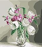 DIY Pintura digital - Flor de botella de vidrio Pintar por número Pintura digital con decoración de pincel y pintura, lienzo preimpreso - 40x50 cm (Sin Marco)