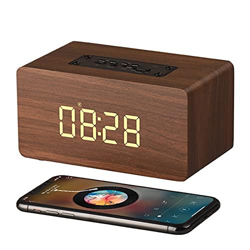 Wireless Charging Altavoz Despertador,Radio Despertador,PortáTil con Luz Reloj Espejo Pantalla 75% Eficiencia De Carga Sonido Control Digital Reloj De Mesa