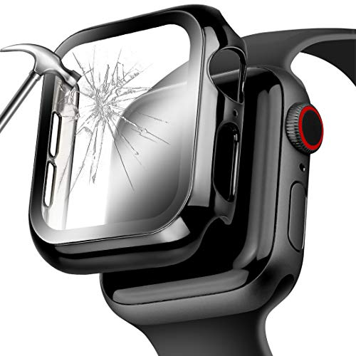 Deeplus for Apple Watch Series 5 44mm Screen Protector, Mirror Surface PC Hard Apple Watch Case 44mm Series 5 Bumper Face Cover with HD Temper Glass for Iwatch Series 5/4 (Black, 40 mm)