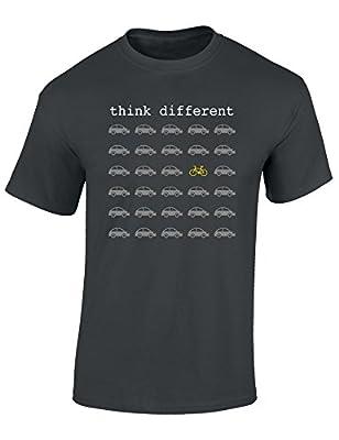 T-Shirt: Think Different - Fahrrad Geschenke für Damen & Herren - Radfahrer - Mountain-Bike - MTB - BMX - Fixie - Rennrad - Tour - Outdoor - Sport - Urban - Motiv - Spruch - Fun - Lustig (XL)