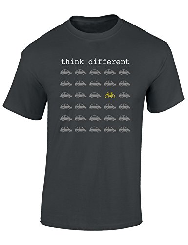 T-Shirt: Think Different - Fahrrad Geschenke für Damen & Herren - Radfahrer - Mountain-Bike - MTB - BMX - Fixie - Rennrad - Tour - Outdoor - Sport - Urban - Motiv - Spruch - Fun - Lustig (XL)