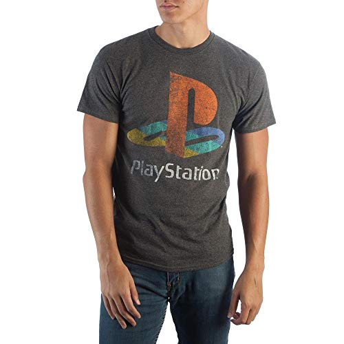 Sony Playstation Classic Logo tee, PS1 PS2 Gaming Console, Rough Weathered Style on Charcoal T-Shirt,Camisetas y Tops(X-Large)
