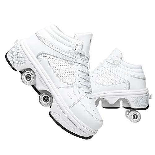 R&P Deformación 4 Rueda Patines En Paralelo Zapatos Multiusos Patines De Hielo con Polea, LED, Unisex,Blanco,38