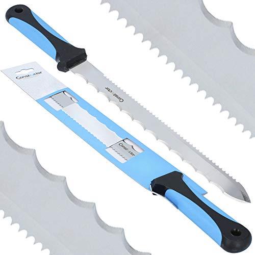 Constructor™ Dämmstoffmesser & Styropormesser 280 mm | Dämmwolle Glaswolle Steinwolle Dämmung Messer Säge Edelstahl Klinge Schneider Universalmesser Werkzeug Isoliermesser Profi