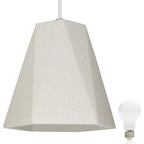 Beton-Lampe Beton-Leuchte LED E27 Pendel-Lampe Hänge-Leuchte CHICAGO (Farbe: Beton-Hell) Vintage Industrieleuchte Wohnzimmerlampe Modern Betonfassung mit Textilkabel inkl. 13W LED Warmweiss