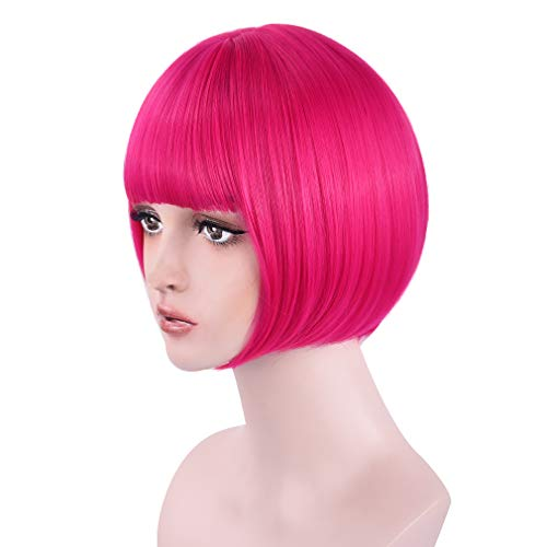 """REECHO 11"""" Short Bob Wig with bangs Synthetic Hair for White Black Women Cosplay - Hot Rose Pink"""