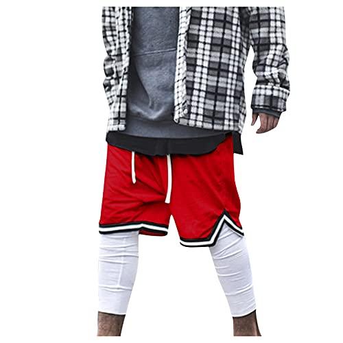 cinnamou Herren Sommer Basketball Shorts aus Atmungsaktives Mesh Stoff Traininghose,Lose Schnell Trocknend Outdoor Sports Shorts,Sommer Straßenmode Shorts für Jugendliche und Jungen,Männer