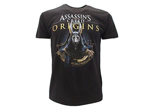 Original Assassin\'s Creed Origins T-Shirt 2017 Gold Anubis, Schwarz XX-Small