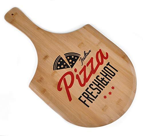 Spetebo Bambus Pizzabrett - Holz Pizzateller Pizza Schneidebrett Holzbrett Pizzaschieber