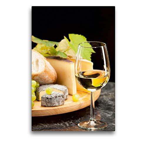 CALVENDO Premium Textil-Leinwand 50 x 75 cm Hoch-Format Weisswein mit Käseplatte Trauben, Leinwanddruck von Wolfgang Steiner