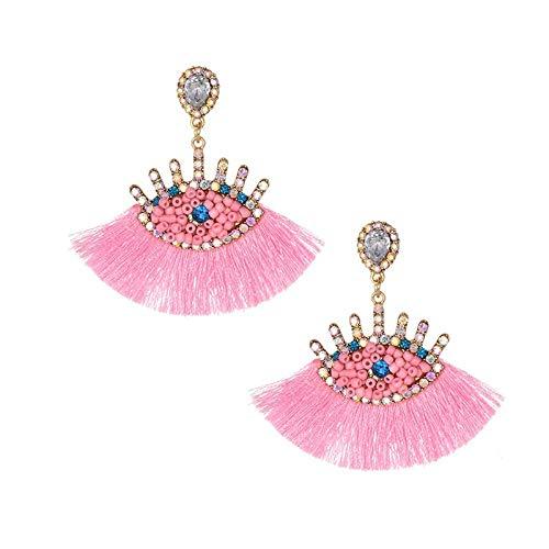 Arete Pendientes De Borla Diseño Pendientes De Ojo De Boda Para Mujer Pendientes De Gota De Fiesta Elegante Bohemio Naranja Cuelga-Rosa