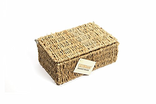 woodluv SEAGRASS STORAGE BASKET BOX WITH LID SMALL
