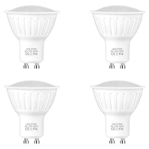 WELLHOME GU10 LED Warmweiss Lampen, Dimmbar 5W LED Spots ersetzt 50 Watt Halogen, 2700K Reflektor Strahler Leuchtmittel 120° 500 Lumens 230V, 4er-Pack
