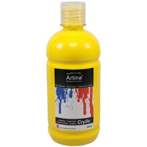 Artina Crylic Acrylfarben - hochwertige Künstler-Malfarbe in 500 ml Flaschen in Kadmiumgelb & weitere Farben