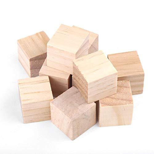 KANGIRU para Hacer Manualidades, Bloques de Madera sin terminar Naturales Cubos artesanales Bloques de Madera Cuadrados DIY Craft