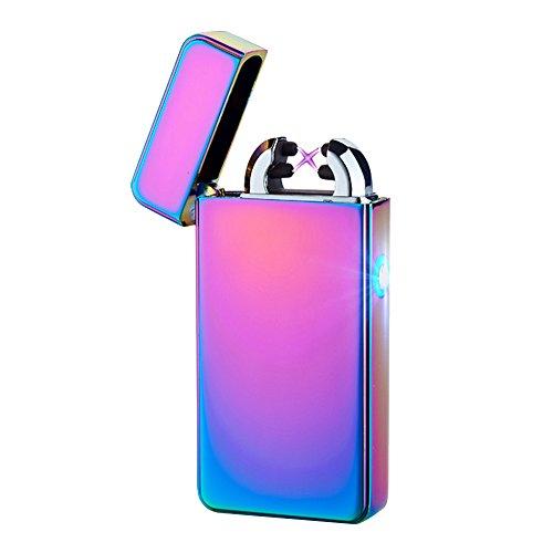Alxcio Alxcio USB Wiederaufladbare Elektronisch Dual Arc Feuerzeug Windproof Flammenlose Kein Gas Zigarettenanzünder Zündung mit USB-Ladekabel, Stil 1 Stil 1