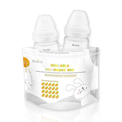 Mikrowellen-Sterilisationstaschen, Mikrowellen-Dampfsterilisator-Taschen für Babyflaschen, Schnuller, Beißringe und Trainingsbecher, 20 Verwendungszwecke pro Beutel, 16 Stück
