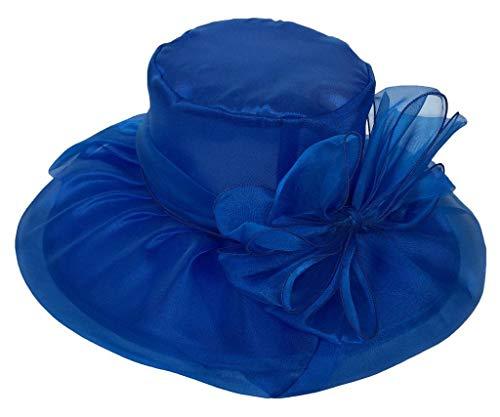 YiyiLai YiyiLai Elegante Damen Blume Deko Faltbar Strandhut Sommerhut Beach Hut Sonnenhüte Damenhut One Size Inner Umfang:56cm Blau