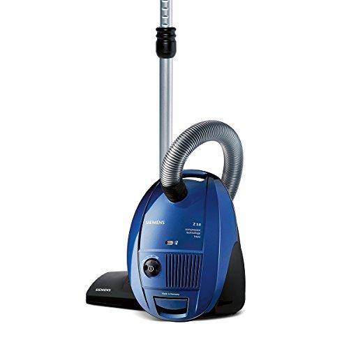 Siemens Bodenstaubsauger VSZ31455, sehr niedriger Stromverbrauch, 4L Beutelvolumen, umfangreiches Zubehör, langes Kabel, HEPA Hygienefilter, 850 Watt, blau