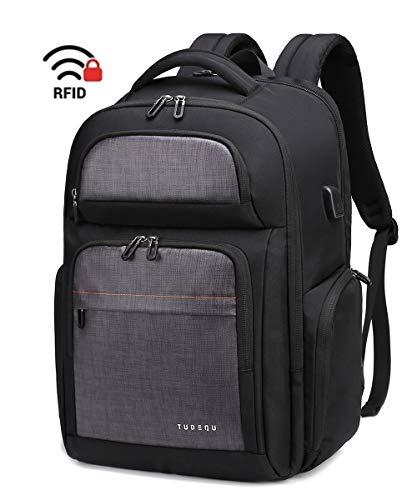 "TUDEQU 17.3"" TSA Travel Laptop Backpack with Dry Wet Separation, Messenger Bag Extra Large Computer Bag College School Laptop Bookbags for Students, Office, Men & Women, Black (757 BLK)"
