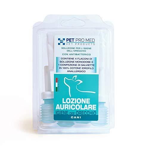 Virosac PetProMed - Lozione auricolare antibatterica ideale per l'igiene delle orecchie del cane - 4 flaconcini da 8 ml e una confezione di salviette