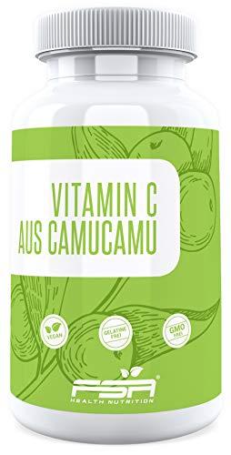 Natürliches Vitamin C 90 Kapseln, 125 mg pro Kapsel, aus der Camu Camu Frucht, Vegan - Made in Germany - FSA Nutrition
