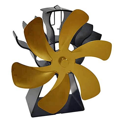 FLAMEER Ventilador de Chimenea de Estufa de Calor de 6 aspas para el hogar Chimenea de leña de leña Que circula Aire Caliente Ahorra Combustible de Manera - Oro