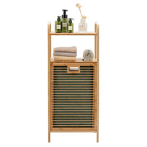 Giantex Badregal mit Wäschekorb, Badezimmerregal aus Bambus, Badschrank mit 2 Ablagen für Badaccessoires, ausklappbarer Wäschesack aus Stoff, Natur