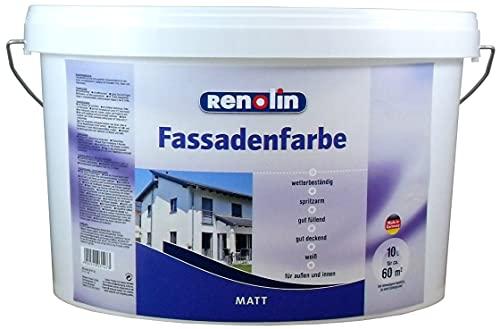 Renolin Fassadenfarbe 10 Liter Wilckens weiss Innen Außen Fassade Farbe Wandfarbe ca. 60 m²