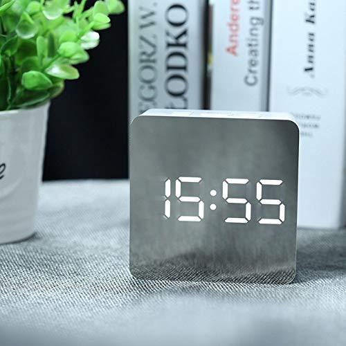 WDNGTZN Wecker, LED Spiegel Wecker Digital Snooze Tischuhr Wake Up Light Elektronische Großzeittemperaturanzeige Home Decoration Clock, Square