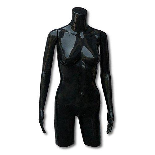 Damen-Torso/Schaufensterpuppe/Schaufensterfigur mit beweglichen Armen, schwarz