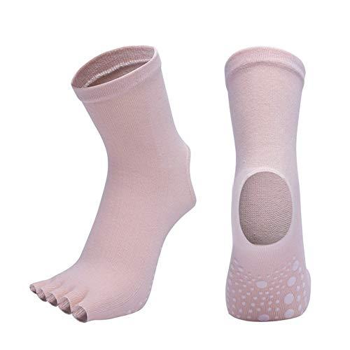 QWERBAM Las Mujeres Antideslizante Yoga Calcetines Dedos de Fitness Pilates Calcetines de Gimnasia del Dedo del pie Cinco Deporte Calcetines de algodón elástico Colorida Invierno