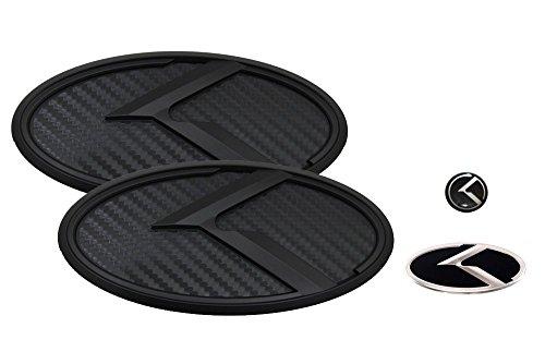 3D K Logo Emblem Carbon Fiber & Black Edition Set 4pc Front + Rear + Steering Wheel + Mini Sticker (Fit: KIA 2009-2013 Forte Koup , Cerato Koup)