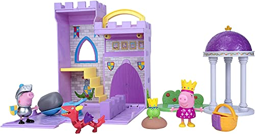 Peppa Princess Fort Adventure Playset - 8 Inch Expandable Playset with Carry Handle, Including Character Toy Princess and Frog, Picnic Basket, Sir George (Knight), Dragon and Catapult Accessories