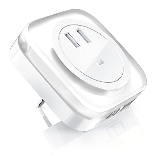 CSL - LED Nachtlicht mit Ladefunktion - Nachtlampe Orientierungslicht Nachtorientierungslicht - 2X USB Anschluss - integrierter Helligkeitssensor - stromsparend Energieeffizienz-Klasse A