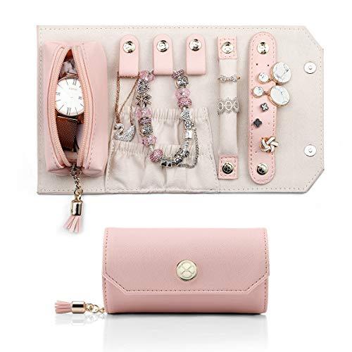 Vlando Jewellery Organizer Roll Bag für die Reise, tragbare Mini-Größe und geringes Gewicht Daily Jewellries Aufbewahrungskoffer für Ringe, Ohrringe, Halsketten, Lippenstift (Pink)