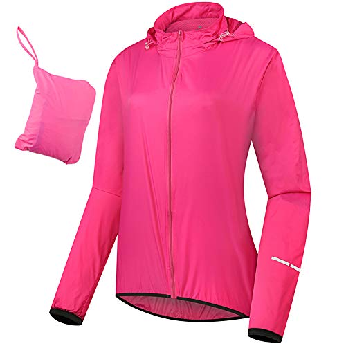 Womens Cycling Jacket with Hood, Packable High Visibility Reflective Waterproof Ladies Bike Rain Jacket, Thin Raincoat Windproof Breathable Running Jacket, Windbreaker,Pink,AS=XL EU=M/L