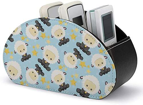 Remote Caddy Box - TV Afstandsbediening Houder Organizer Box met 5 compartimenten-PU Lederen Baby Zwart Schapen Organisatie en Opslag voor DVD/Blu-Ray/Media Player/Heater Controllers